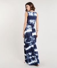 c95068759 Vestido Feminino Longo Canelado Estampado Tie Dye com Argola e ...