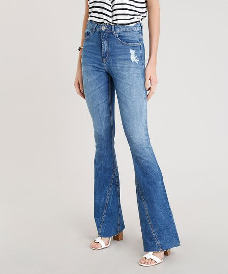 Calca-Jeans-Feminina-Flare-Cintura-Alta-com-Recorte-na-Barra-Azul-Medio-9271821-Azul_Medio_1