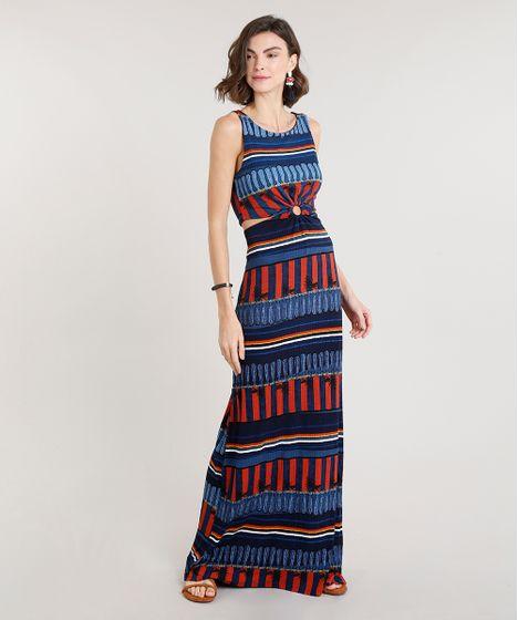 3f3b59032 Vestido Feminino Longo Canelado Listrado com Argola e Vazado Azul ...