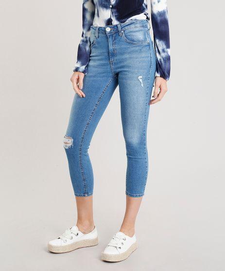 Calca-Jeans-Feminina-Cropped-com-Puidos-Cintura-Alta-Azul-Claro-9346397-Azul_Claro_1