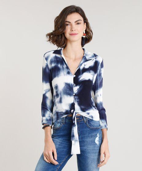 Camisa-Feminina-Canelada-Estampada-Tie-Dye-com-No-Manga-Longa-Azul-Marinho-9306035-Azul_Marinho_1