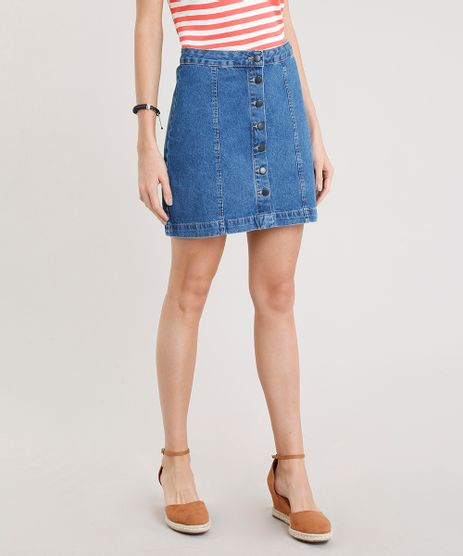 Saia-Jeans-Feminina-com-Botoes-Curta-Azul-Medio-9372306-Azul_Medio_1