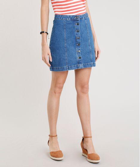 8942bf5d2 Saia Jeans Feminina com Botões Curta Azul Médio - cea