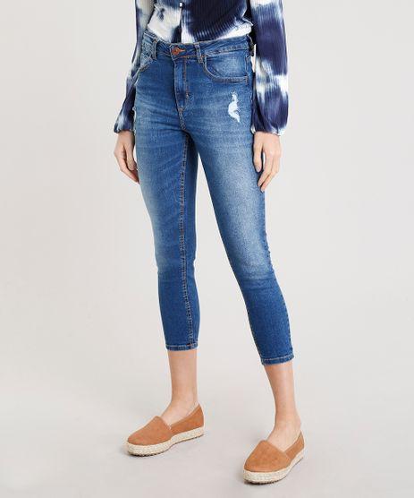 Calca-Jeans-Feminina-Cropped-com-Puidos-Cintura-Alta-Azul-Escuro-9346398-Azul_Escuro_1