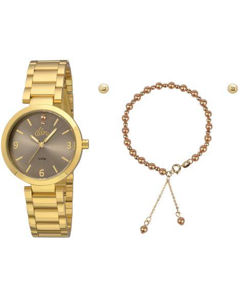 ffb43f8ce44 Kit Relógio Allora Feminino Perolas AL2036FIE K4M - Dourado - cea