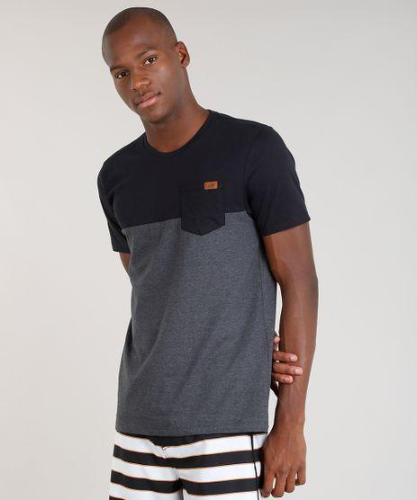 Camiseta-Masculina-Bicolor-Blueman-com-Bolso-Manga-Curta-Gola-Careca-Cinza-Mescla-Escuro-9344824-Cinza_Mescla_Escuro_1