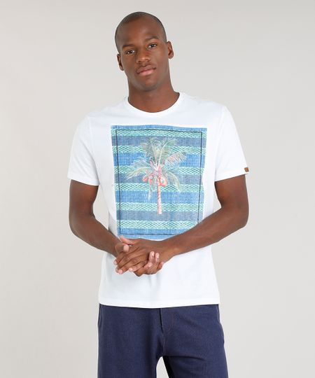 37b6ce4a1e84f1 Menor preço em Camiseta Masculina Tal Pai Tal Filho Blueman Coqueiros Manga  Curta Gola Careca Branca