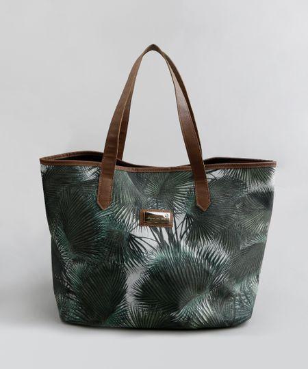 a86c8449c Bolsa de Praia Água de Coco Shopper em Lona Estampada Palmeira Verde Escuro  - cea