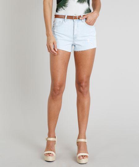 e045d0331 Short Jeans Feminino Água de Coco Vintage com Cinto de Coqueiros Azul Claro  - cea