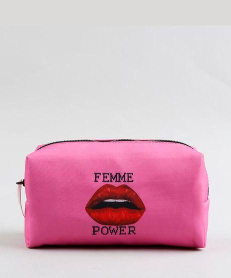Necessaire-Feminina-Triya-Estampada--Femme-Power--Pink-9348097-Pink_1