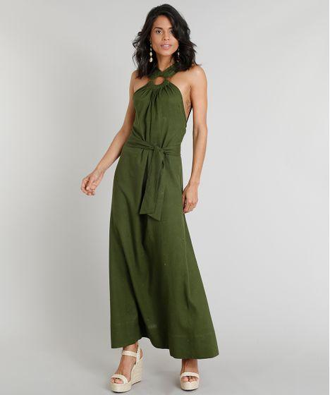 Vestido longo verde accesorios