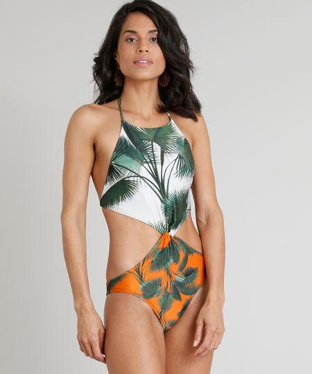 9b722f10d Menor preço em Maiô Engana Mamãe Água de Coco Estampado Palmeira Sem Bojo  Proteção UV50+ Off