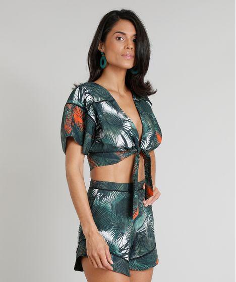 2145ac553b Blusa Feminina Cropped Água de Coco Estampada Palmeira com Nó Manga Curta  Decote V Verde Escuro - cea
