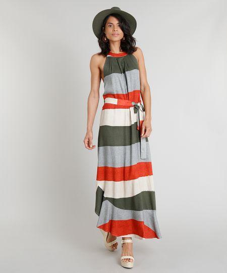 a00720d74 Vestido Feminino Longo Halter Neck Água de Coco Estampado Listrado com  Faixa para Amarrar Verde Escuro