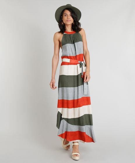 Vestido-Feminino-Longo-Halter-Neck-Agua-de-Coco-Estampado-Listrado-com-Faixa-para-Amarrar-Verde-Escuro-9254204-Verde_Escuro_1