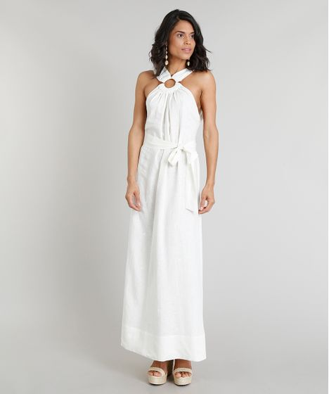 855e5a6ffa Vestido Longo Feminino Água de Coco com Argola em Linho Bordado de ...