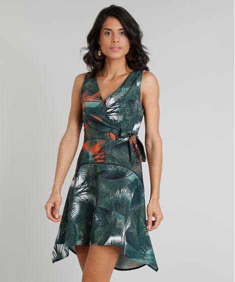 30c4ac4a8 Vestido Feminino Curto Evasê Água de Coco Estampado Palmeira com Nó ...