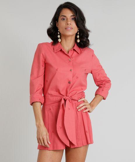 Camisa-Feminina-Agua-de-Coco-Cropped-em-Linho-Bordada-de-Coqueiros-Manga-Longa-Coral-9254744-Coral_1