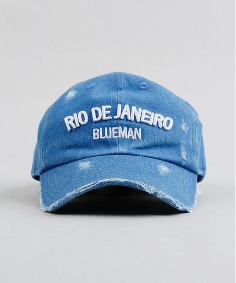 Boné Infantil Blueman Rio de Janeiro em Jeans Azul Médio - cea 7ab94701847