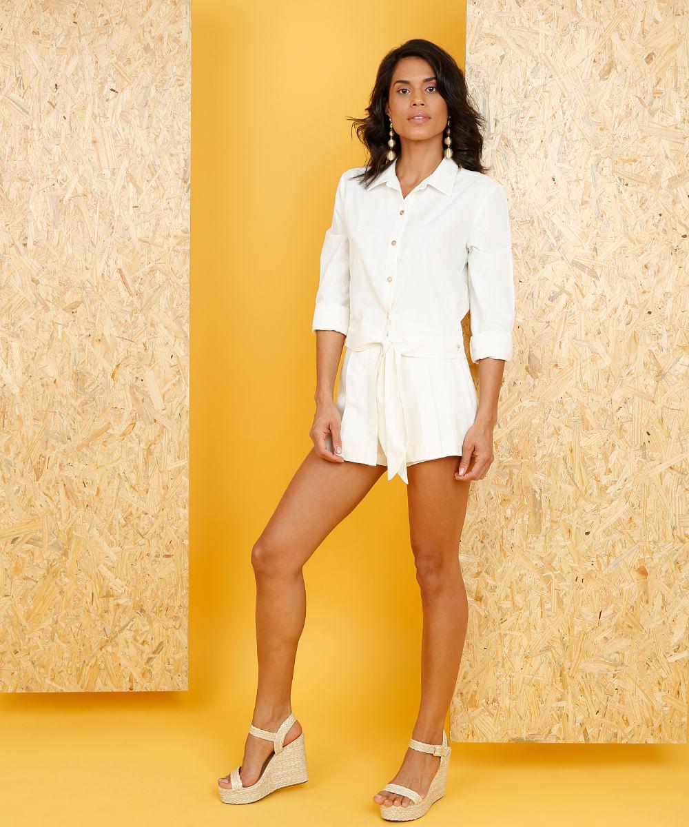 11075a81f Camisa Feminina Água de Coco Cropped com Linho Bordada de Coqueiros ...