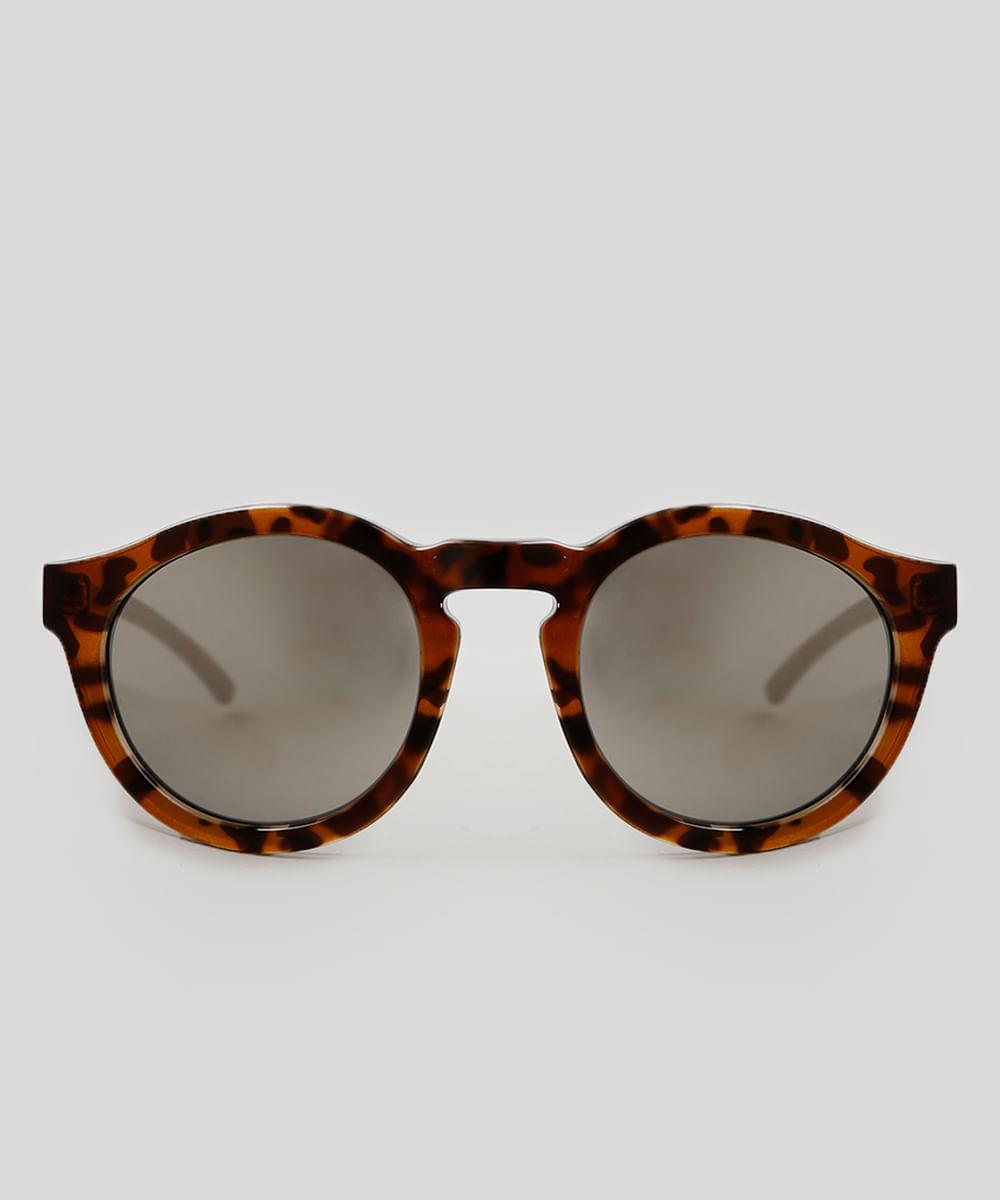 Óculos de Sol Cia. Marítima Redondo Feminino Oneself Tartaruga - Único 5b4b2d3bfd