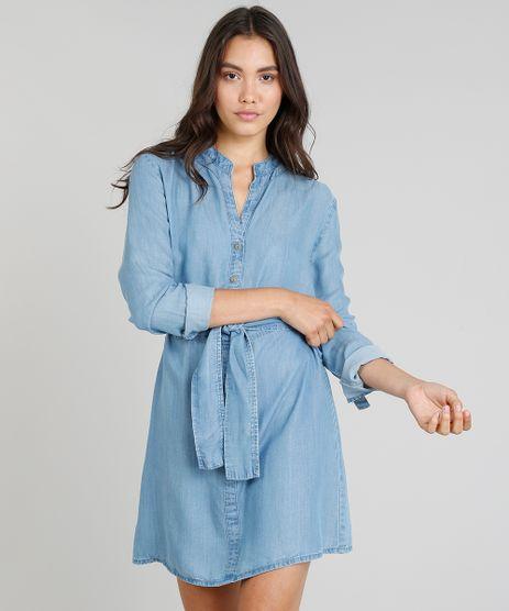 Chemise-Jeans-Feminina-Cia--Maritima-Manga-Longa-com-Faixa-da-Amarrar-Azul-Medio-9331777-Azul_Medio_1