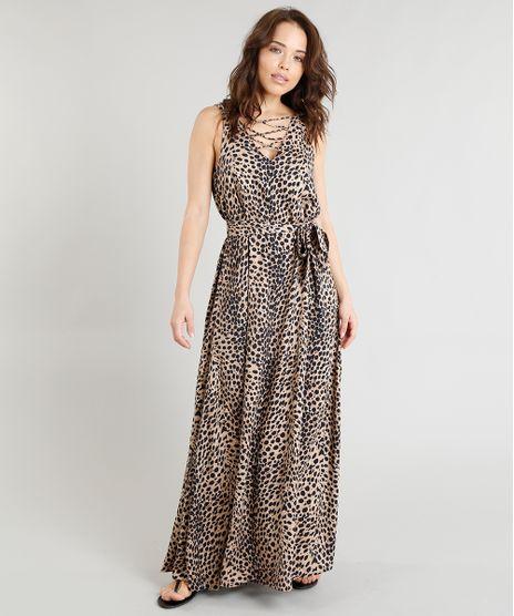 018ce09311 Vestido-Feminino-Longo-Triya-Estampado-Animal-Print-com-