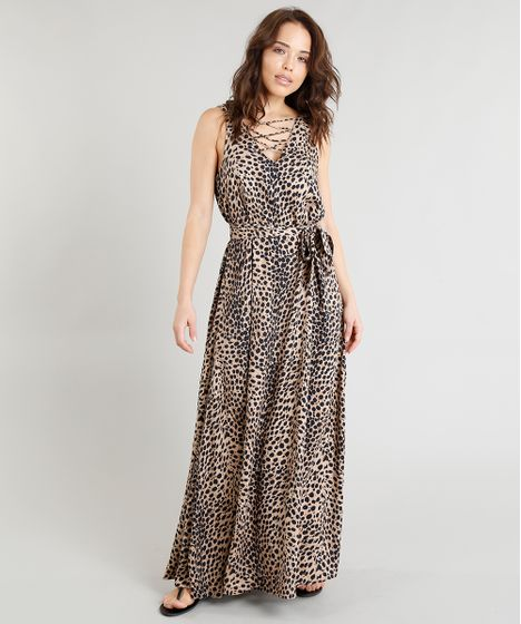c942f6cf37 Vestido Feminino Longo Triya Estampado Animal Print com Faixa para ...