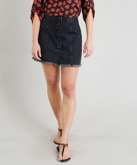 Saia-Jeans-Feminina-Triya-com-Botoes-Preta-9331785-Preto_1