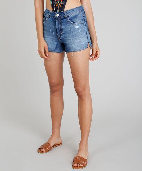Short-Jeans-Feminino-Vintage-Cia--Maritima-com-Puidos-Azul-Escuro-9331771-Azul_Escuro_1