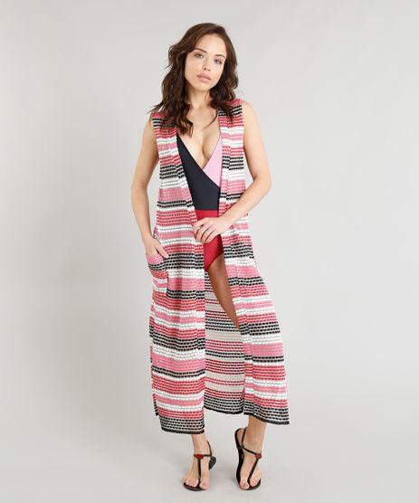 Colete-Longo-Feminino-Triya-Listrado-em-Trico-com-Bolso-e-Fenda-Pink-9295664-Pink_1