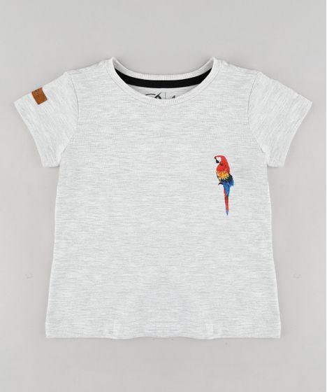 b7f9e58ba24e0a Camiseta Infantil Blueman Tal Pai Tal Filho Arara Manga Curta Gola Careca  Cinza Mescla Claro