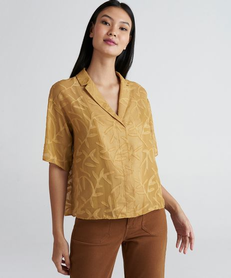 Camisa-Cropped-com-Textura-Feminina-Mindset-Manga-Curta-Mostarda-9385641-Mostarda_1