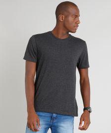 6e5c30f162 Camiseta Masculina Básica Manga Curta Gola Careca Cinza Mescla Escuro