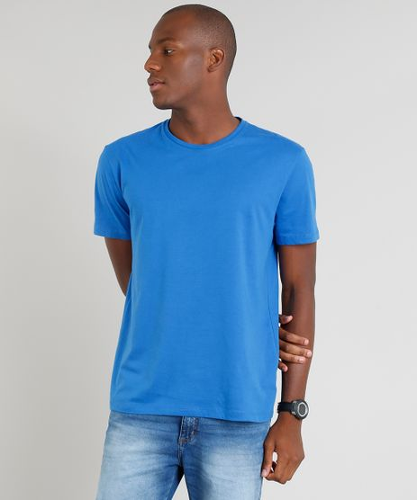 Camiseta-Masculina-Basica-Manga-Curta-Gola-Careca-Azul- 53e38d56251f2