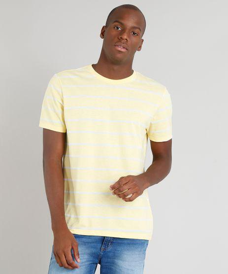 Camiseta-Masculina-Basica-Listrada-Manga-Curta-Gola-Careca-Amarela-9286448-Amarelo_1