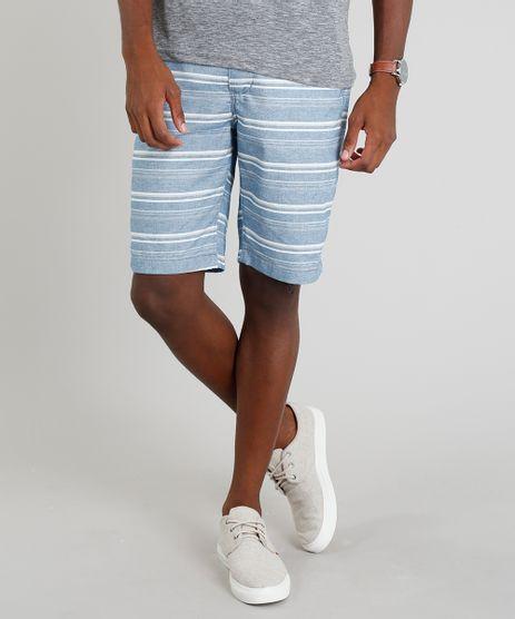 Bermuda-Masculina-Listrada-com-Bolsos-Azul-9283237-Azul_1