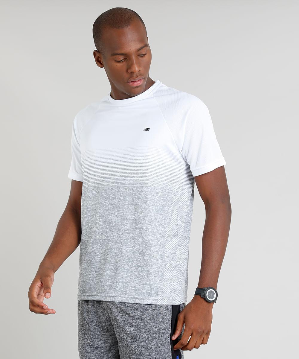 Camiseta Masculina Ace Degradê Manga Curta Gola Careca Branca - cea 66eaf7b2afbcc