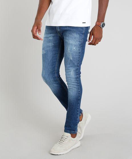 Calca-Jeans-Masculina-Skinny-com-Puidos-Azul-Medio-9305658-Azul_Medio_1