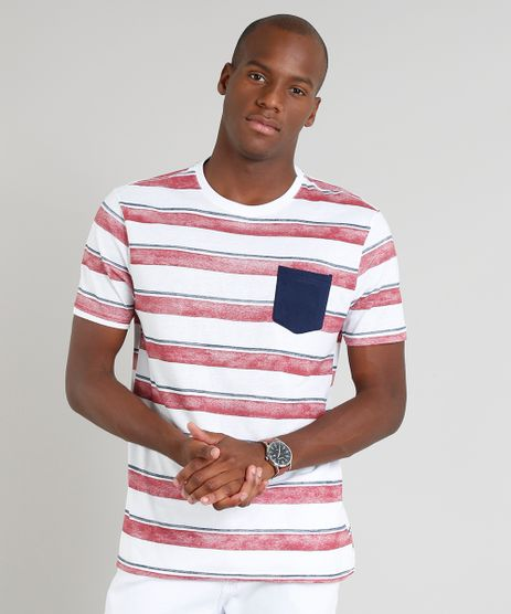 Camiseta-Masculina-Listrada-com-Bolso-Manga-Curta-Gola-Careca-Branca-9278167-Branco_1