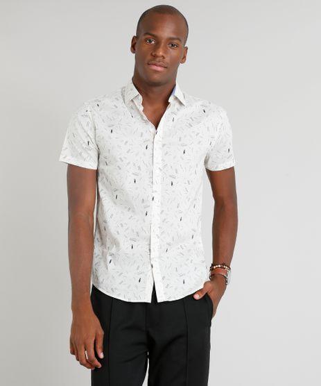 Camisa-Masculina-Slim-Estampada-Manga-Curta-Bege-Claro-9236812-Bege_Claro_1