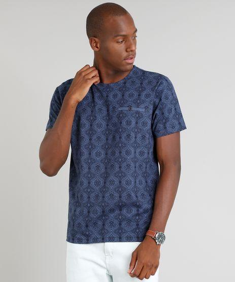 Camiseta-Masculina-Estampada-Arabescos-Manga-Curta-Gola-Careca-Azul-Marinho-9210340-Azul_Marinho_1