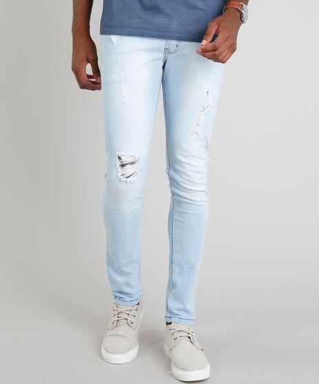 Calca-Jeans-Masculina-Skinny-com-Rasgos-Azul-Claro-9360424-Azul_Claro_1