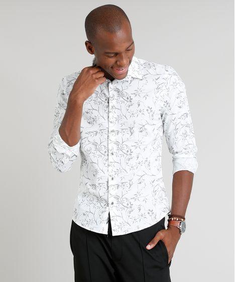 48d216d59 Camisa Masculina Slim Estampada de Folhagens Manga Longa Branca - cea