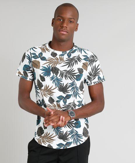 Camiseta-Masculina-Estampada-de-Folhagem-Manga-Curta-Gola-Careca-Off-White-9341857-Off_White_1