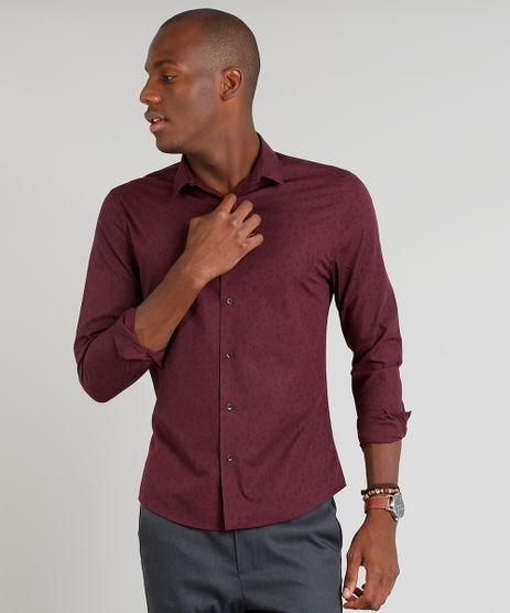 Camisa-Masculina-Slim-Estampada-Manga-Longa-Vinho-9253695-Vinho_1