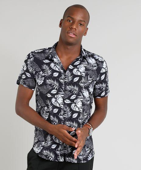 Camisa-Masculina-Estampada-de-Folhagens-Manga-Curta-Preta-9312050-Preto_1