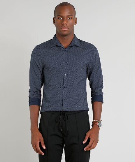 Camisa-Masculina-Slim-Estampada-Mini-Print-Manga-Longa-Azul-Marinho-9089567-Azul_Marinho_1