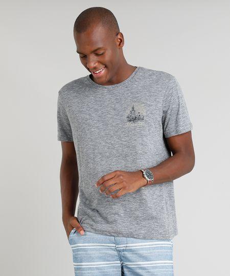 9d57b79b6 Menor preço em Camiseta Masculina Marocco Manga Curta Gola Careca Cinza  Mescla Escuro