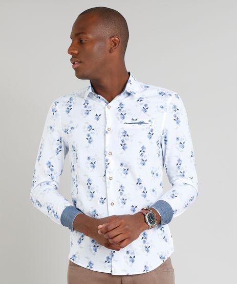 Camisa-Masculina-Slim-Estampada-Floral-com-Bolso-Manga-Longa-Branca-9095681-Branco_1